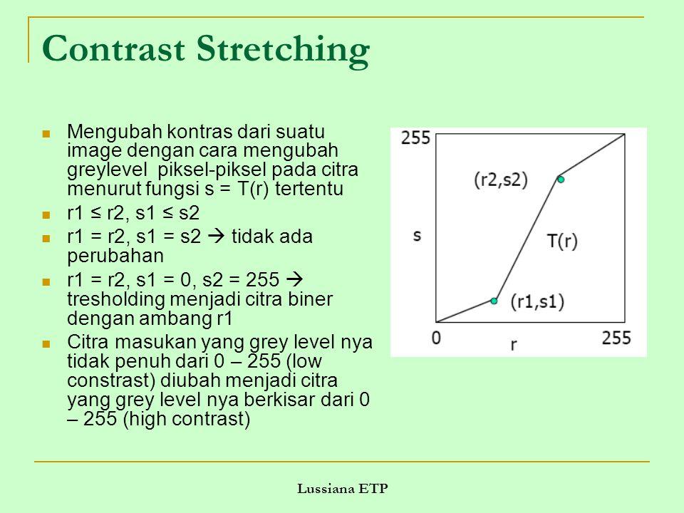 Lussiana ETP Contrast Stretching Mengubah kontras dari suatu image dengan cara mengubah greylevel piksel-piksel pada citra menurut fungsi s = T(r) tertentu r1 ≤ r2, s1 ≤ s2 r1 = r2, s1 = s2  tidak ada perubahan r1 = r2, s1 = 0, s2 = 255  tresholding menjadi citra biner dengan ambang r1 Citra masukan yang grey level nya tidak penuh dari 0 – 255 (low constrast) diubah menjadi citra yang grey level nya berkisar dari 0 – 255 (high contrast)