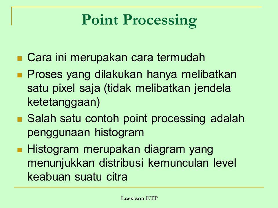 Lussiana ETP Point Processing Cara ini merupakan cara termudah Proses yang dilakukan hanya melibatkan satu pixel saja (tidak melibatkan jendela ketetanggaan) Salah satu contoh point processing adalah penggunaan histogram Histogram merupakan diagram yang menunjukkan distribusi kemunculan level keabuan suatu citra