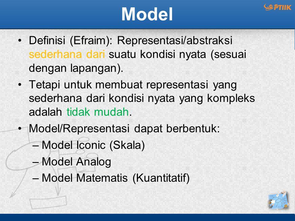 Model Definisi (Efraim): Representasi/abstraksi sederhana dari suatu kondisi nyata (sesuai dengan lapangan). Tetapi untuk membuat representasi yang se