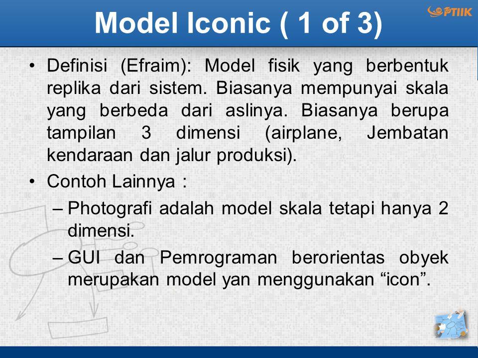 Model Iconic ( 1 of 3) Definisi (Efraim): Model fisik yang berbentuk replika dari sistem. Biasanya mempunyai skala yang berbeda dari aslinya. Biasanya