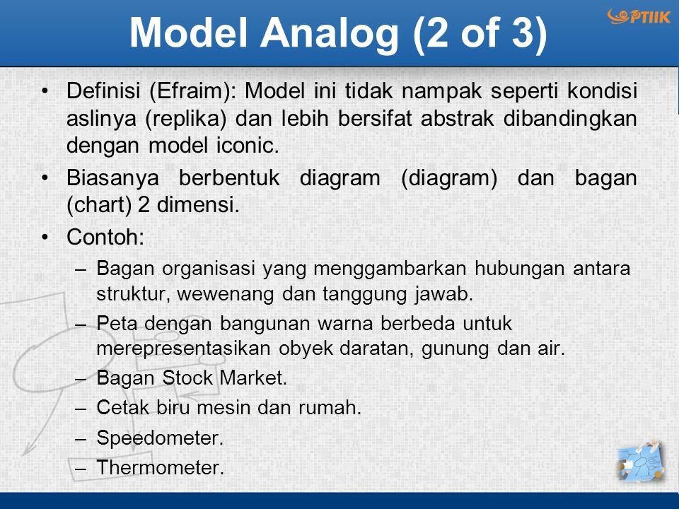 Model Analog (2 of 3) Definisi (Efraim): Model ini tidak nampak seperti kondisi aslinya (replika) dan lebih bersifat abstrak dibandingkan dengan model