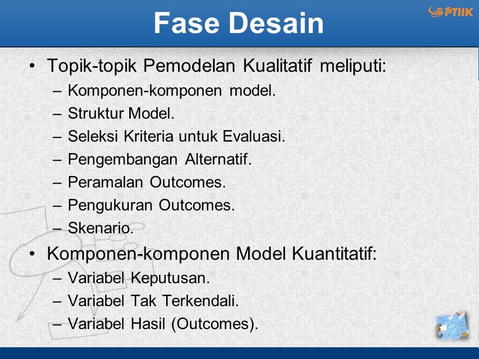 Fase Desain Topik-topik Pemodelan Kualitatif meliputi: –Komponen-komponen model. –Struktur Model. –Seleksi Kriteria untuk Evaluasi. –Pengembangan Alte