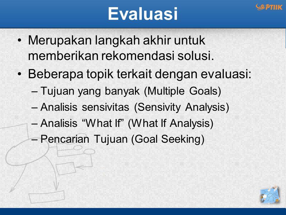 Evaluasi Merupakan langkah akhir untuk memberikan rekomendasi solusi. Beberapa topik terkait dengan evaluasi: –Tujuan yang banyak (Multiple Goals) –An
