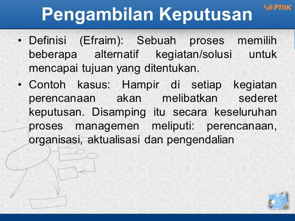 Pengambilan Keputusan Definisi (Efraim): Sebuah proses memilih beberapa alternatif kegiatan/solusi untuk mencapai tujuan yang ditentukan. Contoh kasus