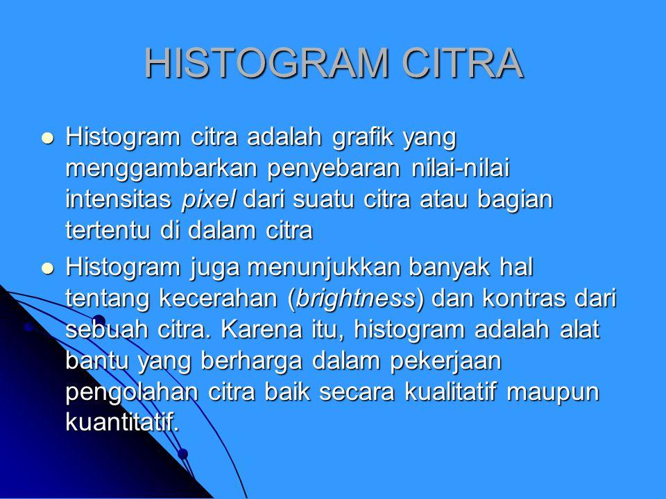 HISTOGRAM CITRA Histogram citra adalah grafik yang menggambarkan penyebaran nilai-nilai intensitas pixel dari suatu citra atau bagian tertentu di dala