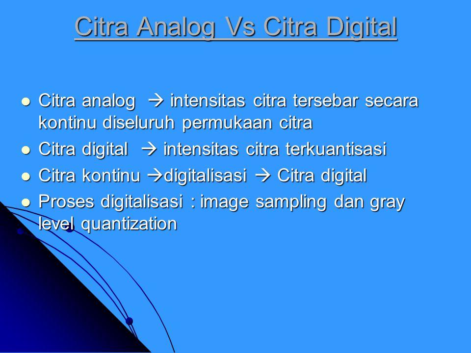 Citra Analog Vs Citra Digital Citra analog  intensitas citra tersebar secara kontinu diseluruh permukaan citra Citra analog  intensitas citra tersebar secara kontinu diseluruh permukaan citra Citra digital  intensitas citra terkuantisasi Citra digital  intensitas citra terkuantisasi Citra kontinu  digitalisasi  Citra digital Citra kontinu  digitalisasi  Citra digital Proses digitalisasi : image sampling dan gray level quantization Proses digitalisasi : image sampling dan gray level quantization
