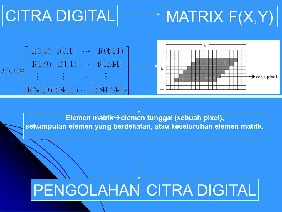 CITRA DIGITAL MATRIX F(X,Y) PENGOLAHAN CITRA DIGITAL Elemen matrik  elemen tunggal (sebuah pixel), sekumpulan elemen yang berdekatan, atau keseluruhan elemen matrik.
