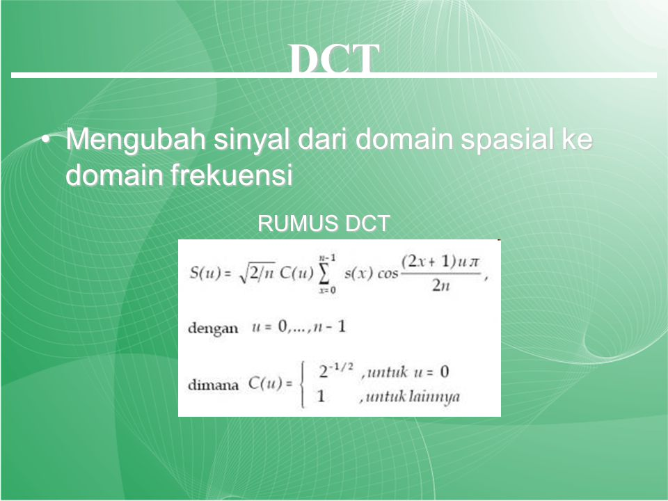 DCT IDCT DISCRITE COSINUS TRANSFORM INVERSE DISCRITE COSINUS TRANSFORM