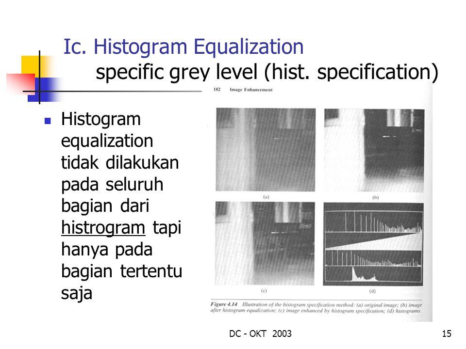 DC - OKT 200315 Ic. Histogram Equalization specific grey level (hist. specification) Histogram equalization tidak dilakukan pada seluruh bagian dari h