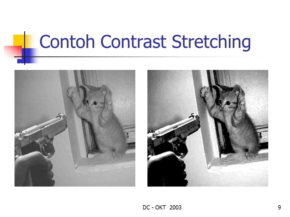 DC - OKT 200310 Contrast Stretching Fungsi lain yang baik digunakan adalah: f out = (f in – a) * b a = min(f in ) b = 255 / (max(f in ) – min(f in )) Citra masukan yang grey level nya tidak penuh dari 0 – 255 (low constrast) diubah menjadi citra yang grey level nya berkisar dari 0 – 255 (high contrast)