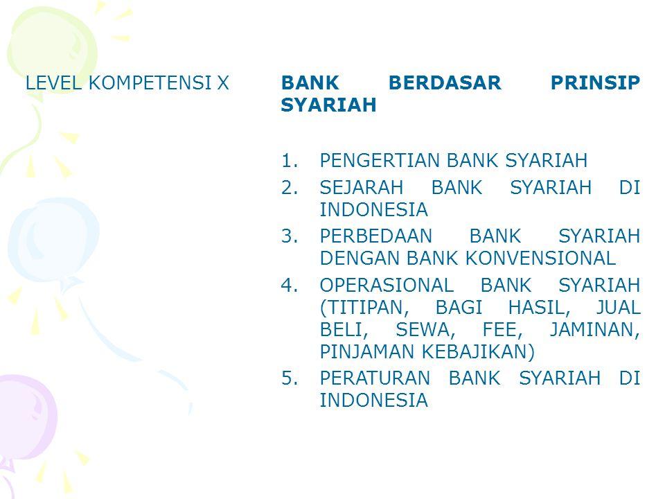 LEVEL KOMPETENSI XBANK BERDASAR PRINSIP SYARIAH 1.PENGERTIAN BANK SYARIAH 2.SEJARAH BANK SYARIAH DI INDONESIA 3.PERBEDAAN BANK SYARIAH DENGAN BANK KON