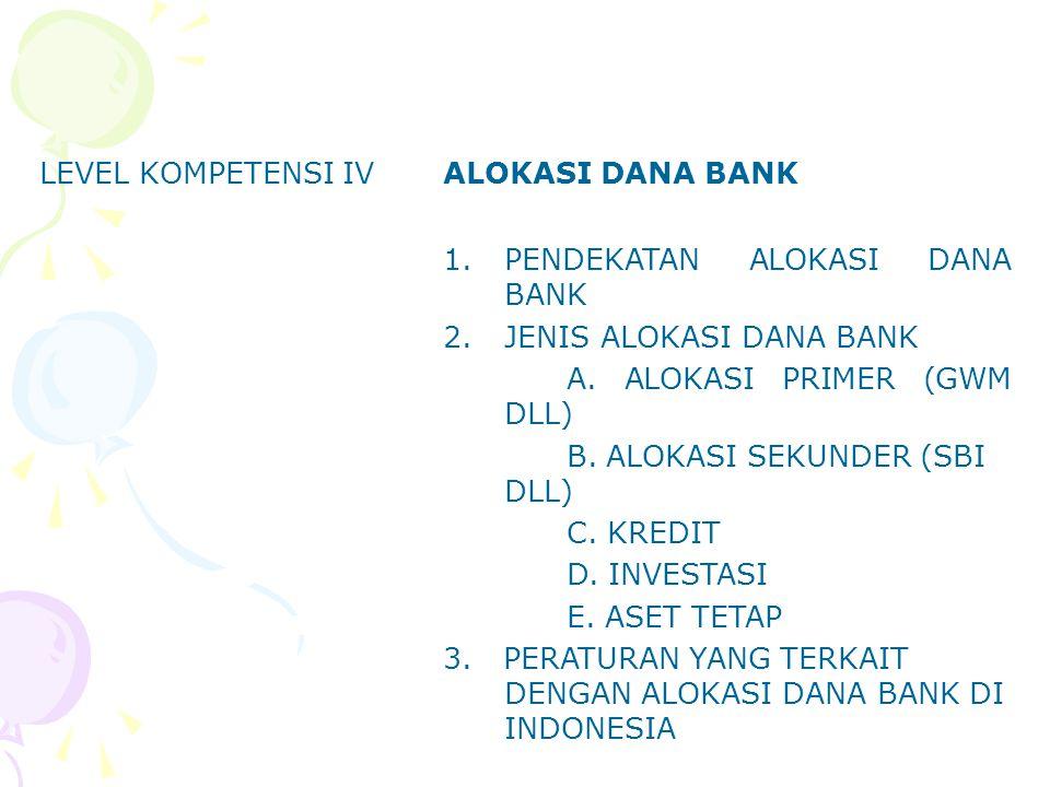 LEVEL KOMPETENSI IVALOKASI DANA BANK 1.PENDEKATAN ALOKASI DANA BANK 2.JENIS ALOKASI DANA BANK A. ALOKASI PRIMER (GWM DLL) B. ALOKASI SEKUNDER (SBI DLL