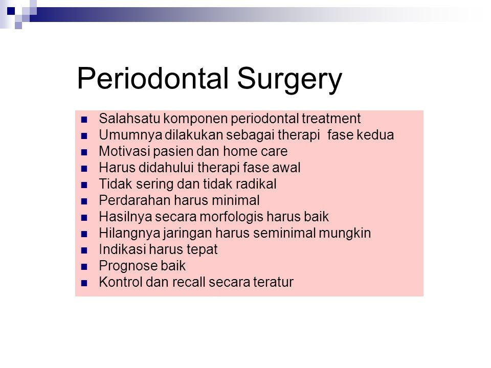 Periodontal Surgery Salahsatu komponen periodontal treatment Umumnya dilakukan sebagai therapi fase kedua Motivasi pasien dan home care Harus didahulu