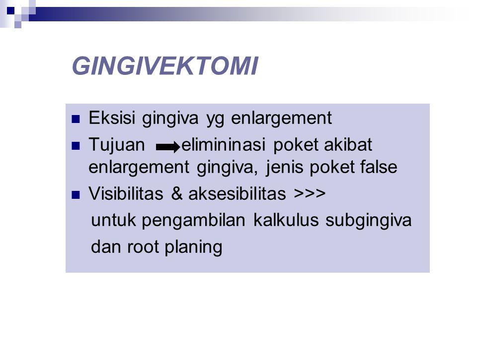 GINGIVEKTOMI Eksisi gingiva yg enlargement Tujuan elimininasi poket akibat enlargement gingiva, jenis poket false Visibilitas & aksesibilitas >>> untu