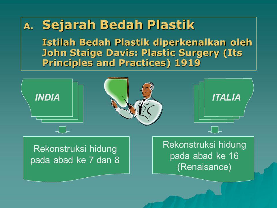 A. Sejarah Bedah Plastik Istilah Bedah Plastik diperkenalkan oleh John Staige Davis: Plastic Surgery (Its Principles and Practices) 1919 Rekonstruksi