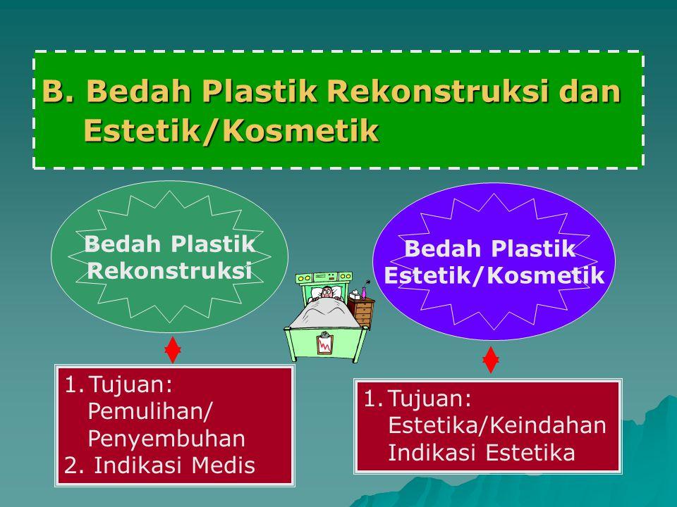 B. Bedah Plastik Rekonstruksi dan Estetik/Kosmetik Estetik/Kosmetik Bedah Plastik Rekonstruksi 1.Tujuan: Pemulihan/ Penyembuhan 2. Indikasi Medis Beda