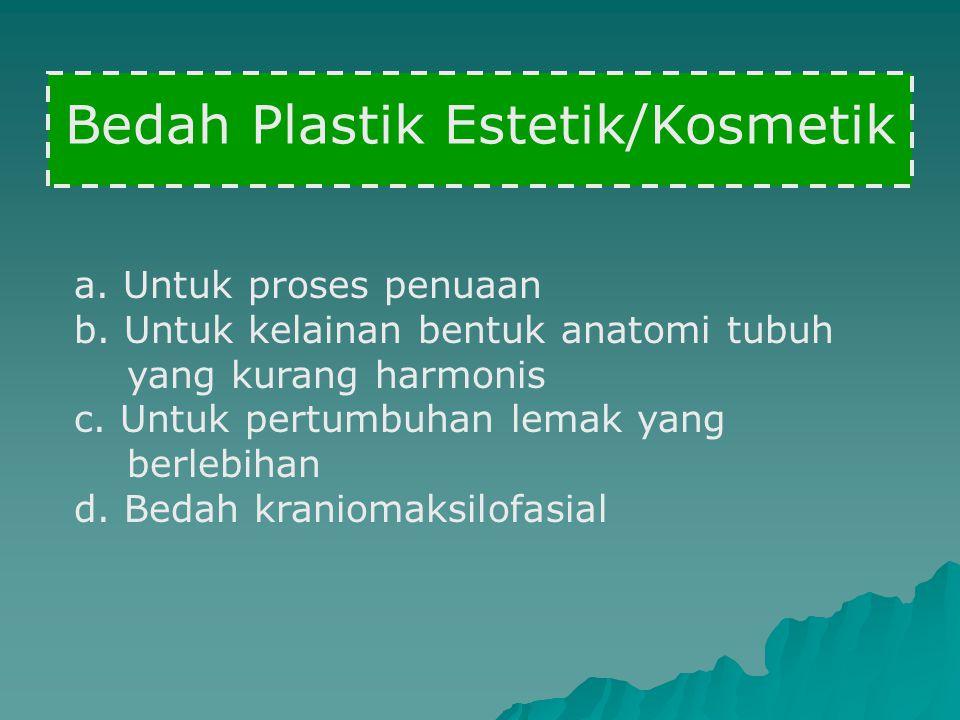 Bedah Plastik Estetik/Kosmetik a. Untuk proses penuaan b. Untuk kelainan bentuk anatomi tubuh yang kurang harmonis c. Untuk pertumbuhan lemak yang ber