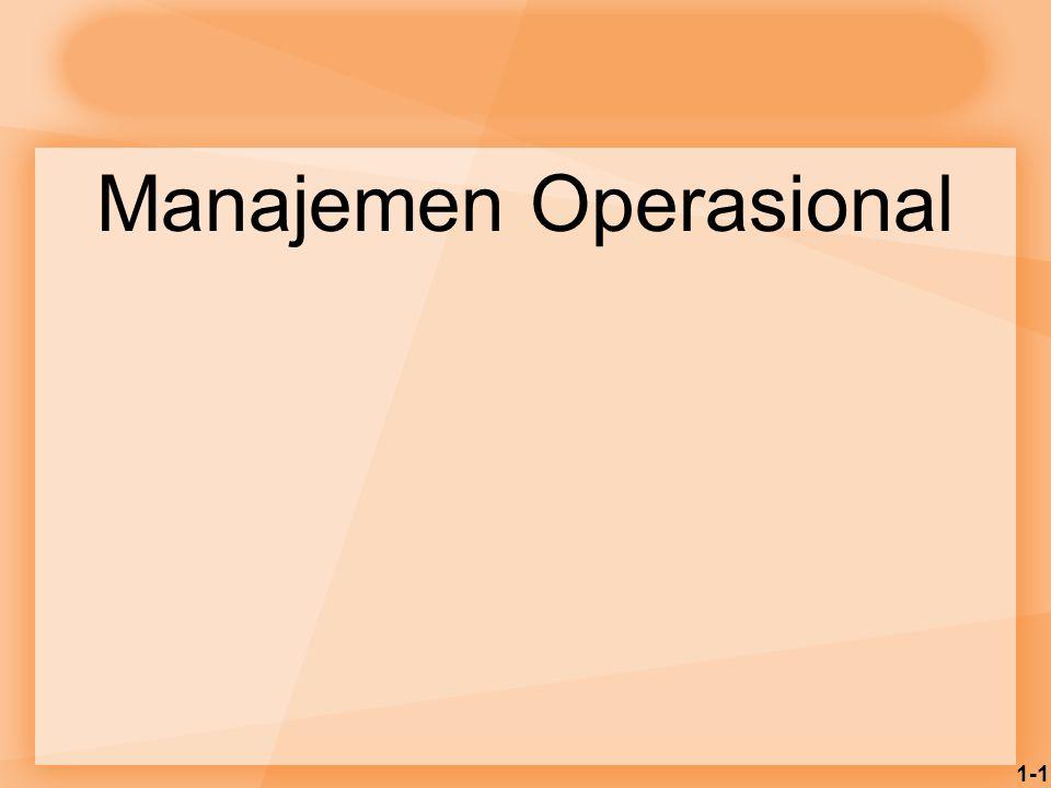 1-2 Manajemen Operasional  Manajemen operasional adalah: Manajemen dari sistem-sistem atau proses- proses yang menghasilkan barang-barang dan /atau menyediakan jasa-jasa  Manajemen operasional mempengaruhi:  Kemampuan perusahaan untuk bersaing  Kemampuan sebuah negara untuk bersaing secara global