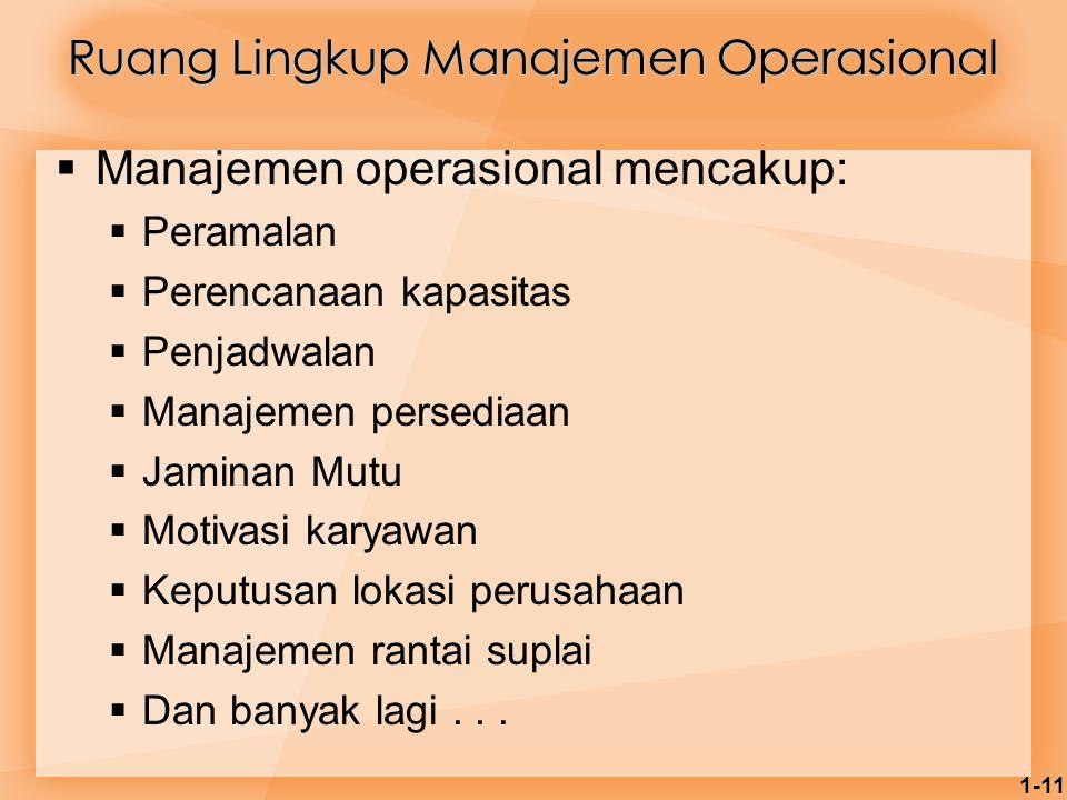 1-11  Manajemen operasional mencakup:  Peramalan  Perencanaan kapasitas  Penjadwalan  Manajemen persediaan  Jaminan Mutu  Motivasi karyawan  K