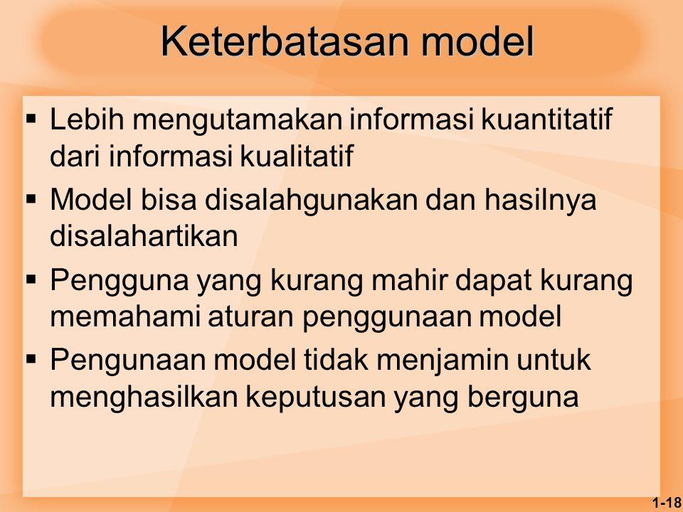 1-18 Keterbatasan model  Lebih mengutamakan informasi kuantitatif dari informasi kualitatif  Model bisa disalahgunakan dan hasilnya disalahartikan 