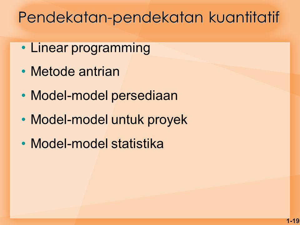 1-19 Pendekatan-pendekatan kuantitatif Linear programming Metode antrian Model-model persediaan Model-model untuk proyek Model-model statistika