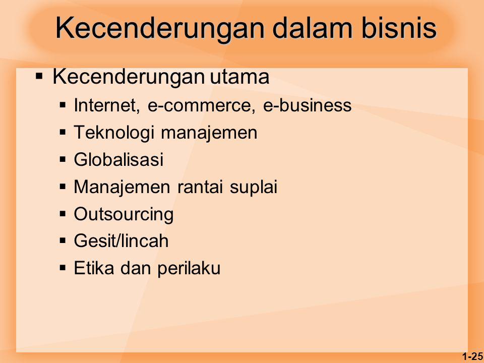1-25 Kecenderungan dalam bisnis  Kecenderungan utama  Internet, e-commerce, e-business  Teknologi manajemen  Globalisasi  Manajemen rantai suplai