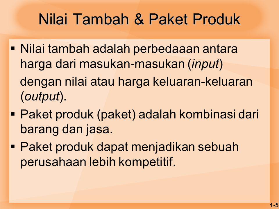 1-5 Nilai Tambah & Paket Produk  Nilai tambah adalah perbedaaan antara harga dari masukan-masukan (input) dengan nilai atau harga keluaran-keluaran (