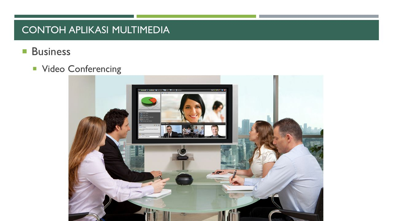 CONTOH APLIKASI MULTIMEDIA  Business  Video Conferencing