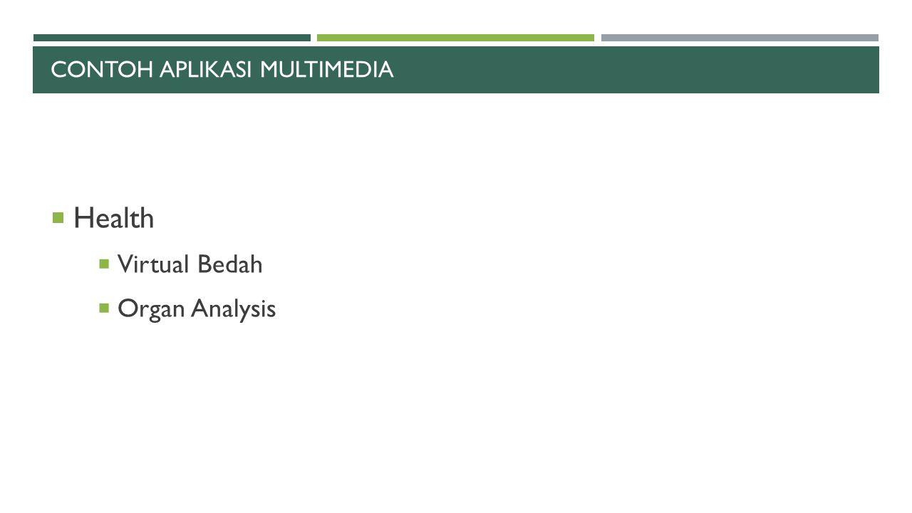 CONTOH APLIKASI MULTIMEDIA  Health  Virtual Bedah  Organ Analysis