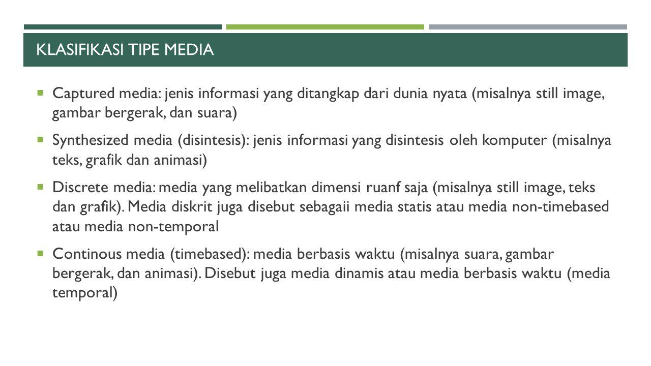 KLASIFIKASI TIPE MEDIA  Captured media: jenis informasi yang ditangkap dari dunia nyata (misalnya still image, gambar bergerak, dan suara)  Synthesi