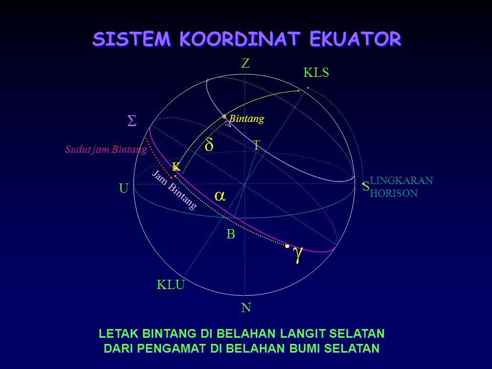 SISTEM KOORDINAT EKUATOR Lingkaran Dasar: Lingkaran Ekuator Langit Koordinat: Askensio Rekta (  ) dan Deklinasi (  ). Askensio Rekta: Adalah panjang