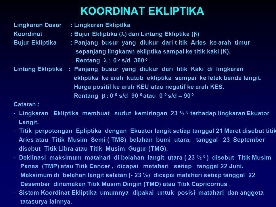 KOORDINAT RASI BINTANG DAN OBJEK LAIN YANG MUDAH DIKENALI Nama Rasi/Objek SingkatanAksensio Rekta j Deklinasi 0 1. Orion (Waluku)Ori5+ 5 2. Ursa Mayor