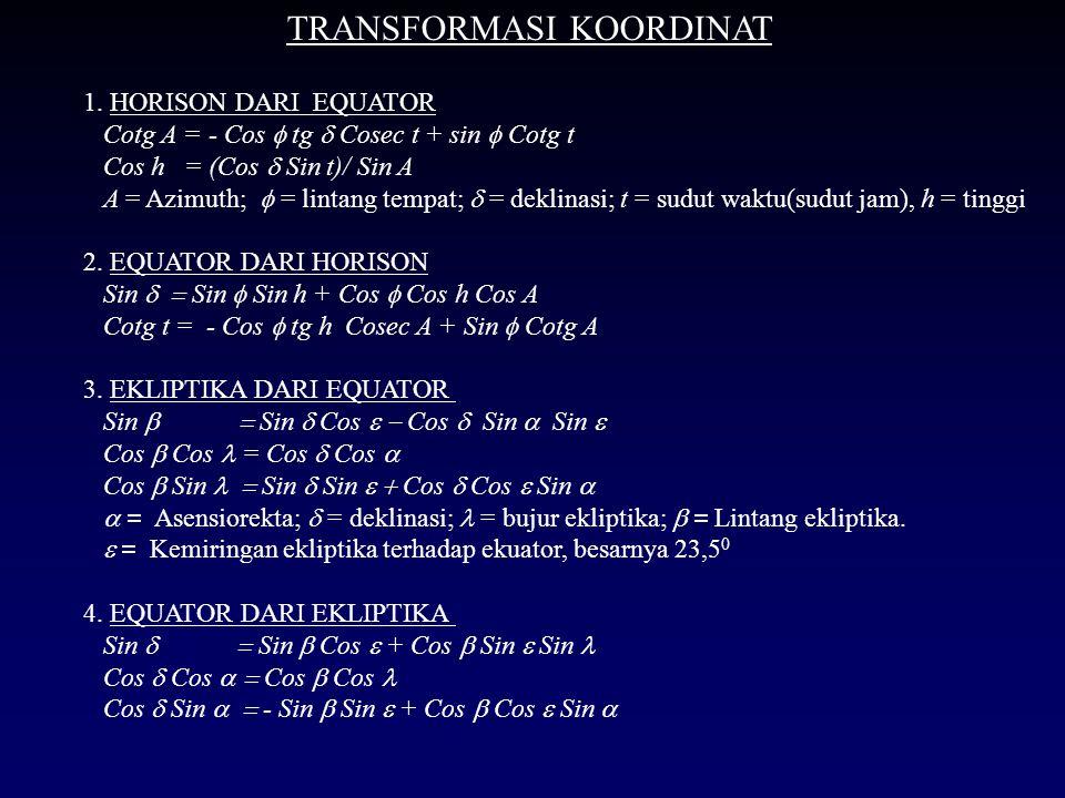 SOAL-SOAL LATIHAN SISTEM KOORDINAT A.KOORDINAT HORISON 1.