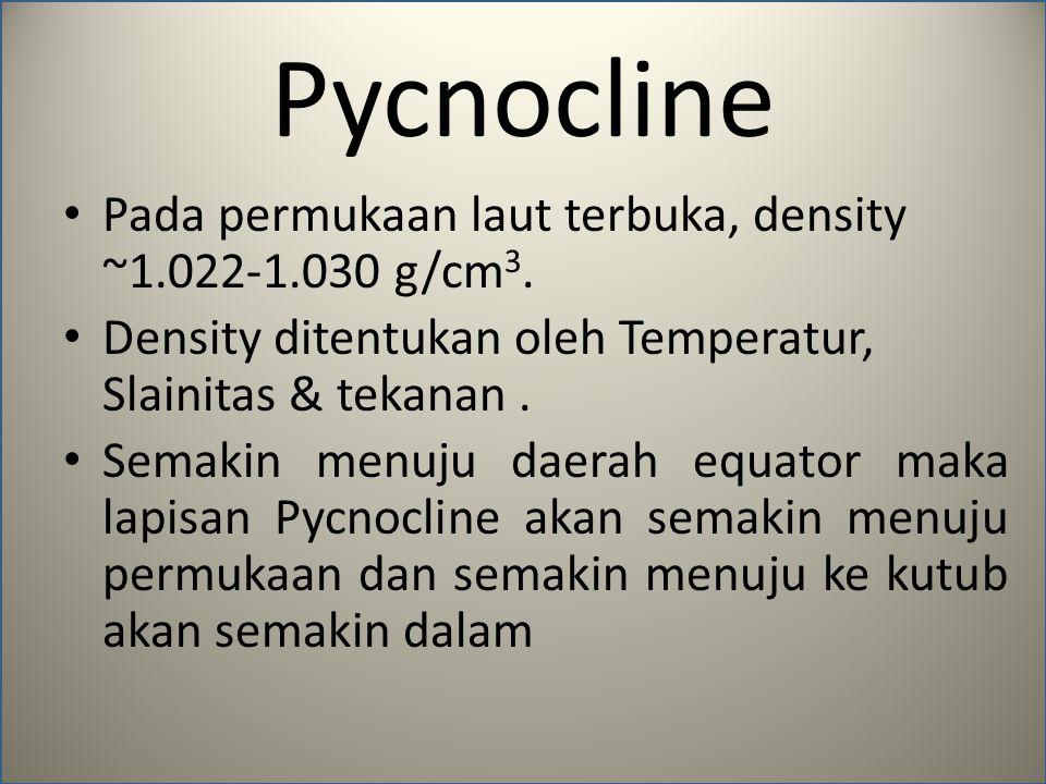 Pycnocline Pada permukaan laut terbuka, density ~1.022-1.030 g/cm 3. Density ditentukan oleh Temperatur, Slainitas & tekanan. Semakin menuju daerah eq