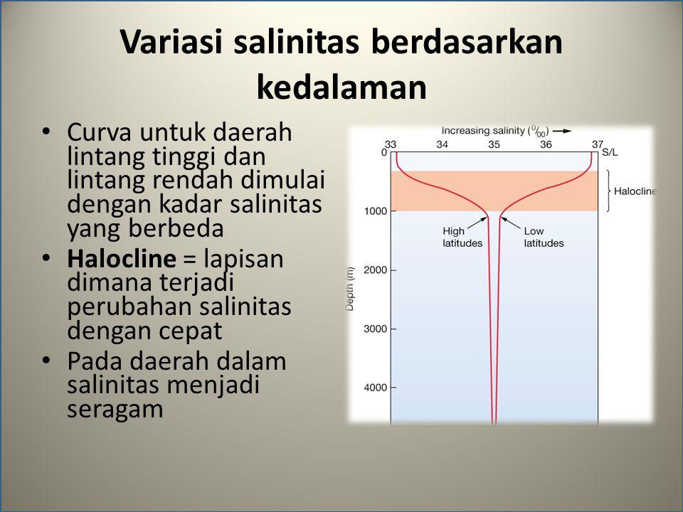 Variasi salinitas berdasarkan kedalaman Curva untuk daerah lintang tinggi dan lintang rendah dimulai dengan kadar salinitas yang berbeda Halocline = lapisan dimana terjadi perubahan salinitas dengan cepat Pada daerah dalam salinitas menjadi seragam