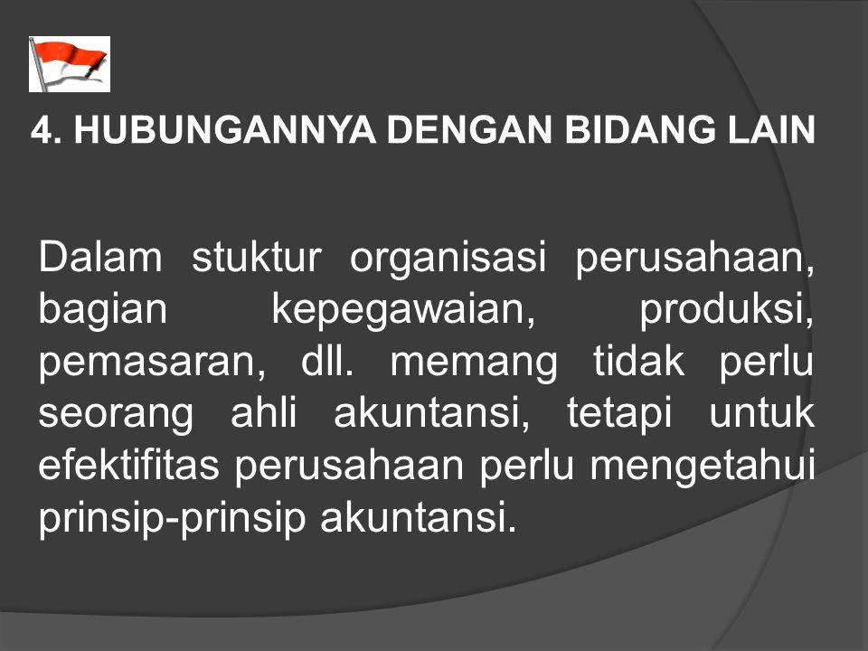 4. HUBUNGANNYA DENGAN BIDANG LAIN Dalam stuktur organisasi perusahaan, bagian kepegawaian, produksi, pemasaran, dll. memang tidak perlu seorang ahli a