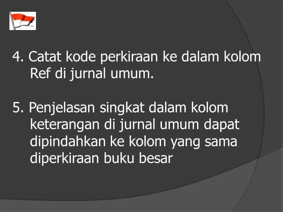4. Catat kode perkiraan ke dalam kolom Ref di jurnal umum. 5. Penjelasan singkat dalam kolom keterangan di jurnal umum dapat dipindahkan ke kolom yang
