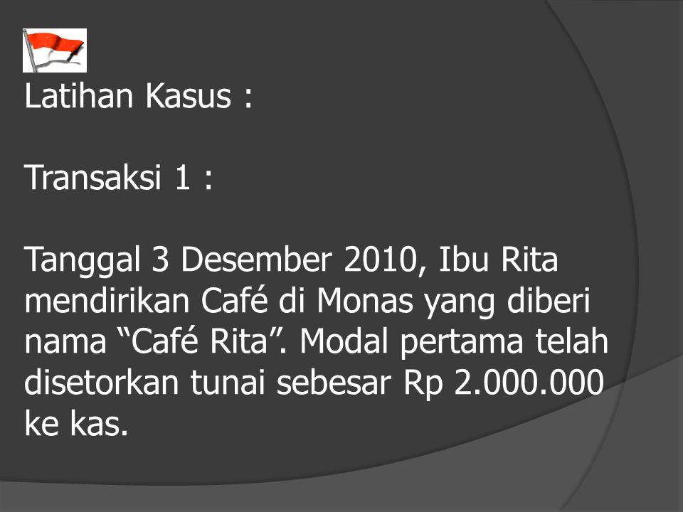 """Latihan Kasus : Transaksi 1 : Tanggal 3 Desember 2010, Ibu Rita mendirikan Café di Monas yang diberi nama """"Café Rita"""". Modal pertama telah disetorkan"""