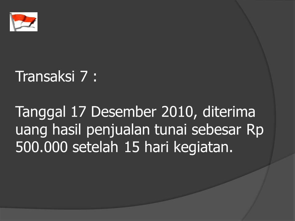 Transaksi 7 : Tanggal 17 Desember 2010, diterima uang hasil penjualan tunai sebesar Rp 500.000 setelah 15 hari kegiatan.