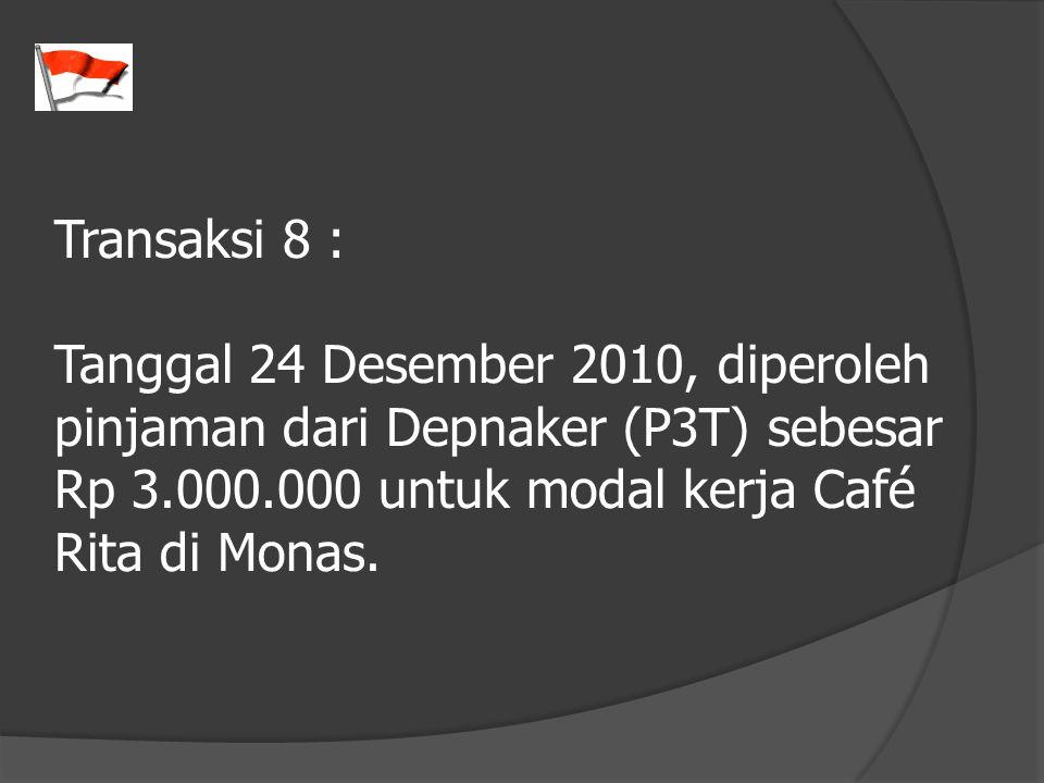 Transaksi 8 : Tanggal 24 Desember 2010, diperoleh pinjaman dari Depnaker (P3T) sebesar Rp 3.000.000 untuk modal kerja Café Rita di Monas.