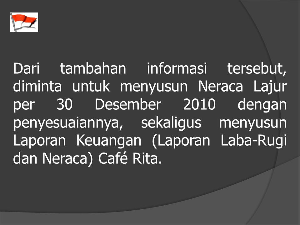 Dari tambahan informasi tersebut, diminta untuk menyusun Neraca Lajur per 30 Desember 2010 dengan penyesuaiannya, sekaligus menyusun Laporan Keuangan