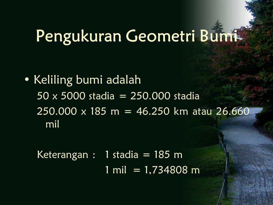 Pengukuran Geometri Bumi Keliling bumi adalah 50 x 5000 stadia = 250.000 stadia 250.000 x 185 m = 46.250 km atau 26.660 mil Keterangan : 1 stadia = 185 m 1 mil = 1,734808 m