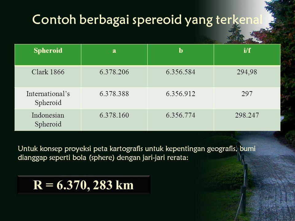 Contoh berbagai spereoid yang terkenal Spheroidabi/f Clark 18666.378.2066.356.584294,98 International's Spheroid 6.378.3886.356.912297 Indonesian Spheroid 6.378.1606.356.774298.247 R = 6.370, 283 km Untuk konsep proyeksi peta kartografis untuk kepentingan geografis, bumi dianggap seperti bola (sphere) dengan jari-jari rerata: