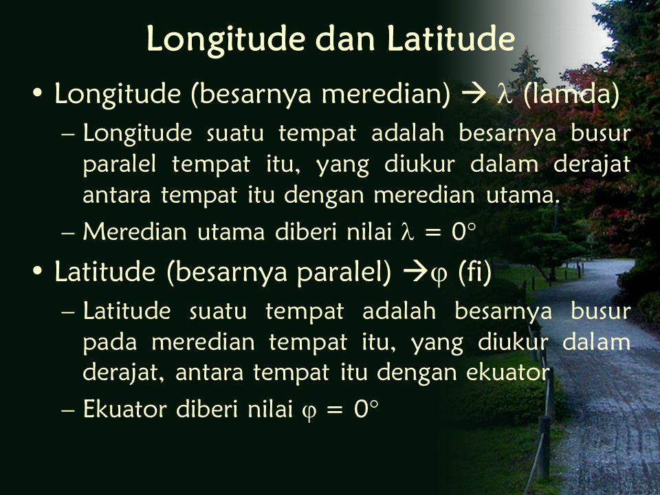 Longitude dan Latitude Longitude (besarnya meredian)  (lamda) –Longitude suatu tempat adalah besarnya busur paralel tempat itu, yang diukur dalam derajat antara tempat itu dengan meredian utama.