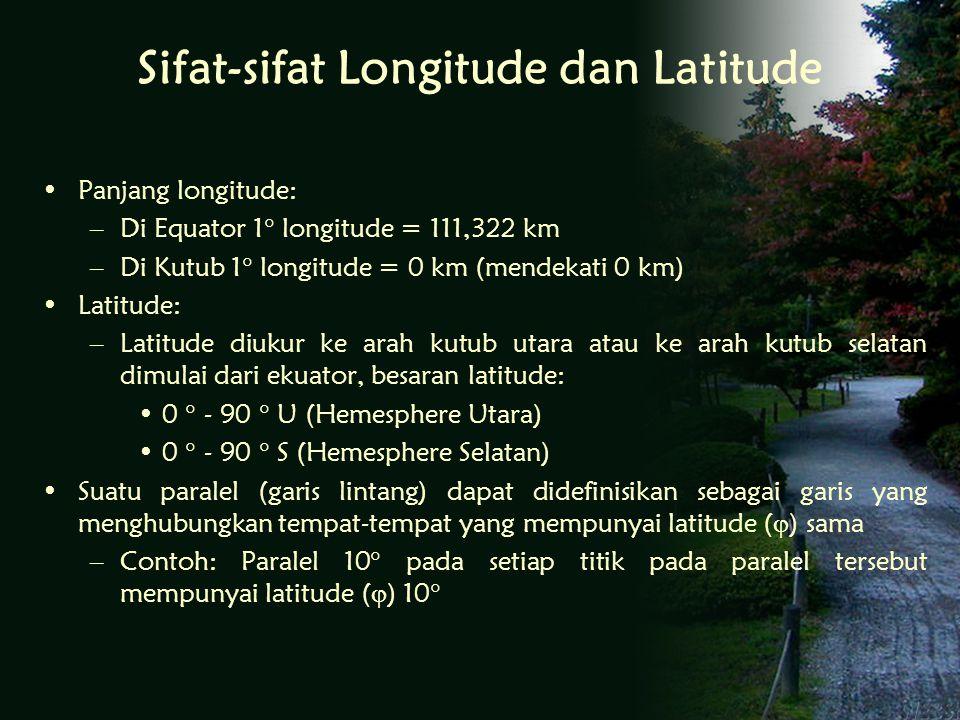 Sifat-sifat Longitude dan Latitude Panjang longitude: –Di Equator 1  longitude = 111,322 km –Di Kutub 1  longitude = 0 km (mendekati 0 km) Latitude: –Latitude diukur ke arah kutub utara atau ke arah kutub selatan dimulai dari ekuator, besaran latitude: 0  - 90  U (Hemesphere Utara) 0  - 90  S (Hemesphere Selatan) Suatu paralel (garis lintang) dapat didefinisikan sebagai garis yang menghubungkan tempat-tempat yang mempunyai latitude (  ) sama –Contoh: Paralel 10  pada setiap titik pada paralel tersebut mempunyai latitude (  ) 10 