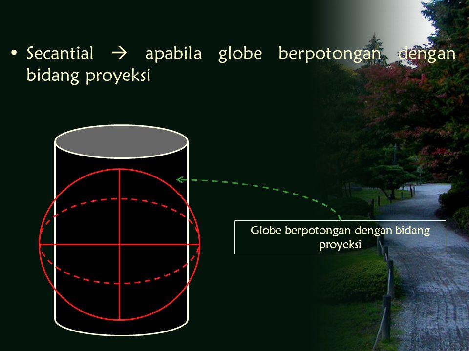Secantial  apabila globe berpotongan dengan bidang proyeksi Globe berpotongan dengan bidang proyeksi