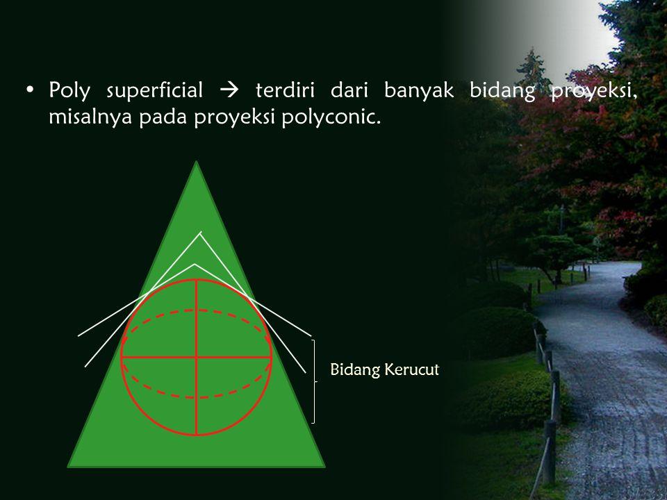 Poly superficial  terdiri dari banyak bidang proyeksi, misalnya pada proyeksi polyconic.