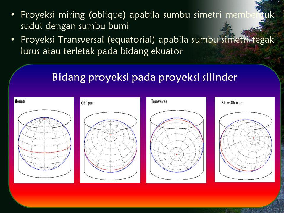 Proyeksi miring (oblique) apabila sumbu simetri membentuk sudut dengan sumbu bumi Proyeksi Transversal (equatorial) apabila sumbu simetri tegak lurus atau terletak pada bidang ekuator Bidang proyeksi pada proyeksi silinder