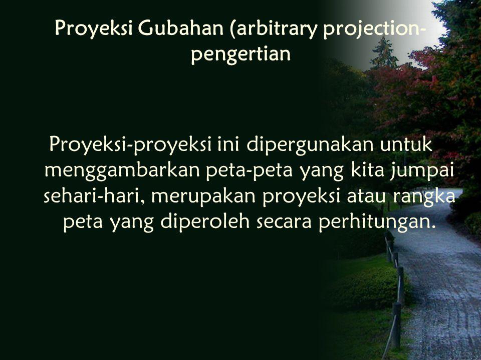 Proyeksi Gubahan (arbitrary projection- pengertian Proyeksi-proyeksi ini dipergunakan untuk menggambarkan peta-peta yang kita jumpai sehari-hari, merupakan proyeksi atau rangka peta yang diperoleh secara perhitungan.