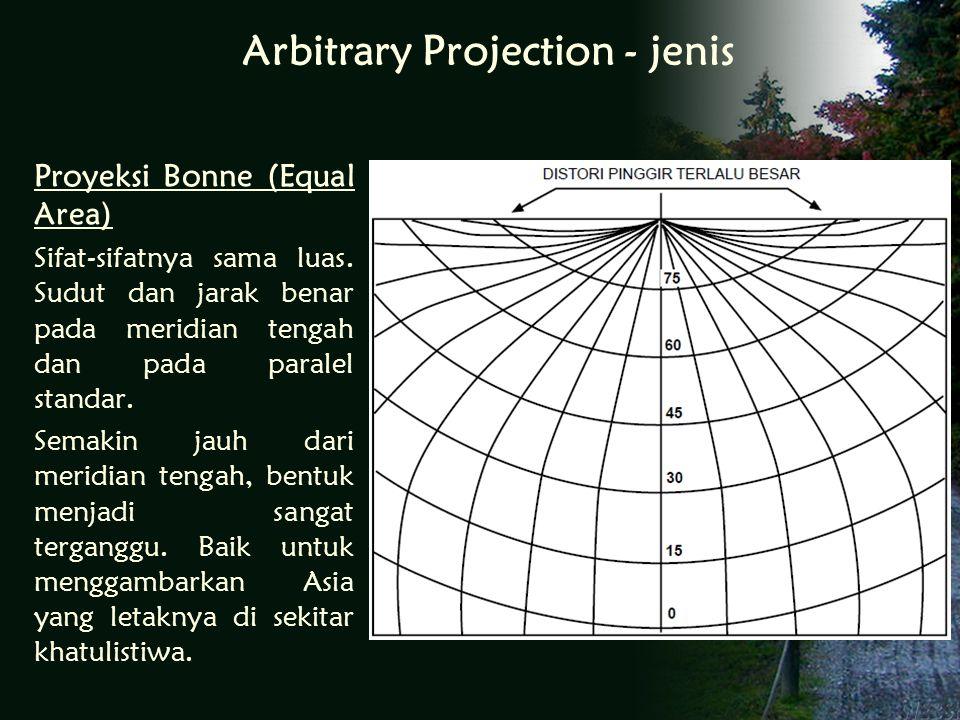 Arbitrary Projection - jenis Proyeksi Bonne (Equal Area) Sifat-sifatnya sama luas.